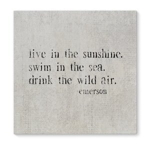 'Live In the Sunshine' Textual Art on Wrapped Canvas by KAVKA DESIGNS