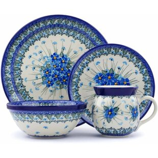 Polish Pottery 4 Piece Place Setting Service for 1  sc 1 st  Wayfair & Polish Pottery Dinnerware Sets | Wayfair
