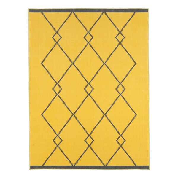 Vathylakas Diamond Trellis Gray/Yellow Area Rug by Beachcrest Home