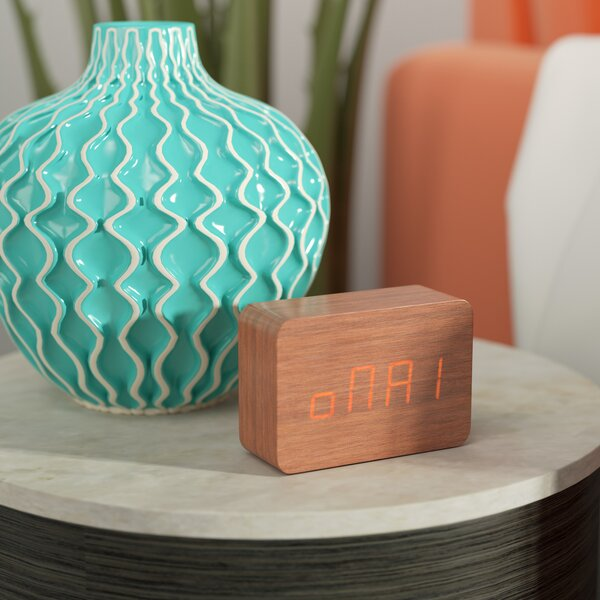 LED Display Wooden Tabletop Clock by Mercury Row