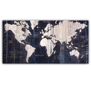 'Old World Map Blue' Graphic Art on Wrapped Canvas by Mercury Row