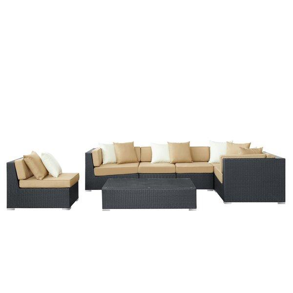 Marren 7 Piece Rattan Sectional Set with Cushions by Orren Ellis
