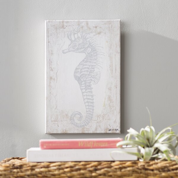 Sea Horse Framed Graphic Art on Wrapped Canvas in Gray/Beige by Bay Isle Home
