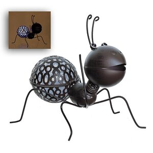 LED Lighted Solar Powered Espresso Crawling Wire Ant Spring Outdoor Garden Solarlight