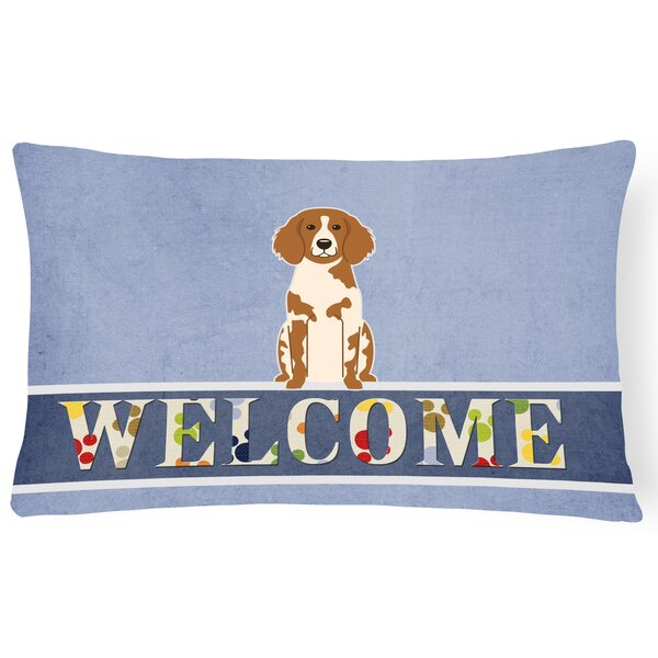 Lamarche Brittany Spaniel Welcome Lumbar Pillow by Red Barrel Studio