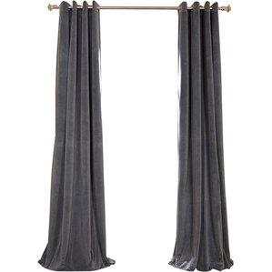 Hackney Velvet Solid Blackout Rod Pocket Single Curtain Panel