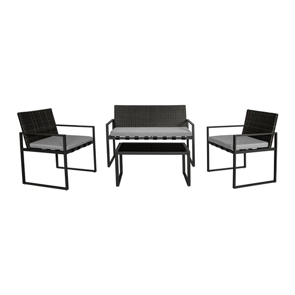 Eberle Outdoor Conversation 4 Piece Rattan Sofa Seating Group with Cushion by Wrought Studio