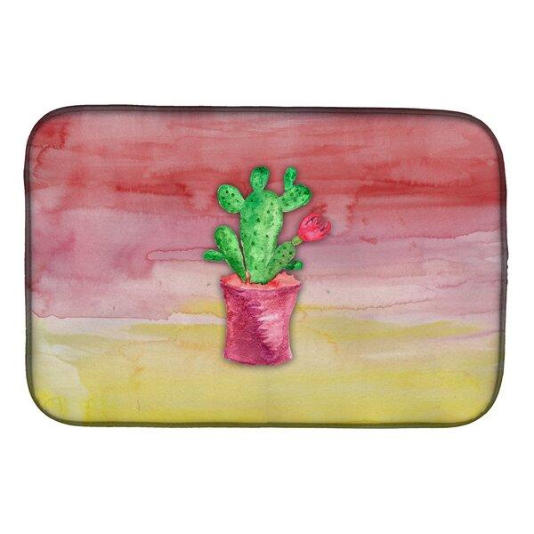 Flowering Cactus Watercolor Dish Drying Mat by Caroline's Treasures