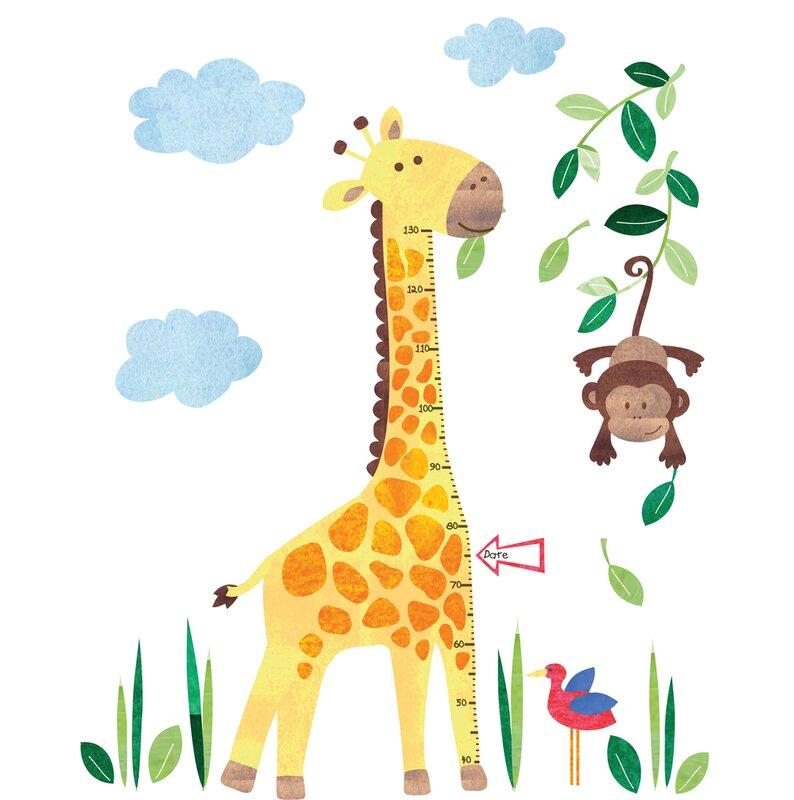jojo maman bébé giraffe height growth chart wall decal   wayfair