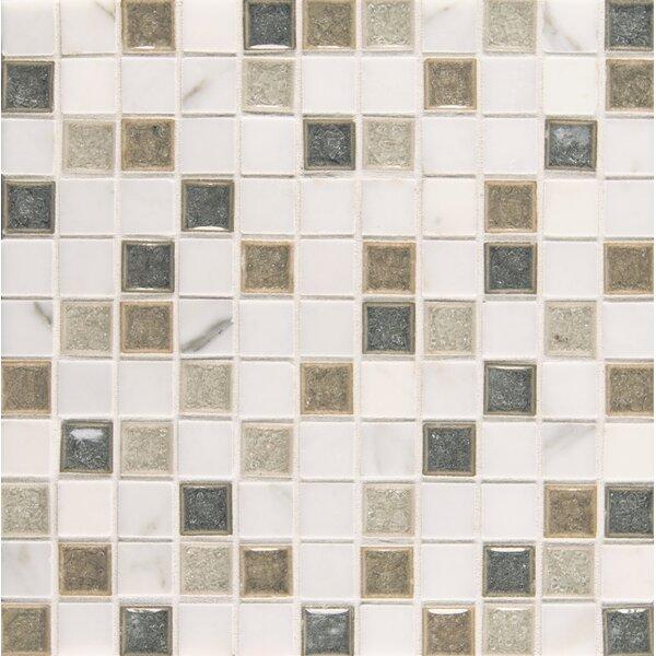 Kismet 1 x 1 Glass Mosaic Tile in Heaven by Bedrosians