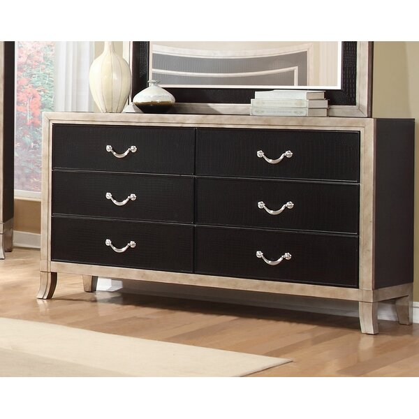 Metoyer 6 Drawer Double Dresser with Mirror by House of Hampton