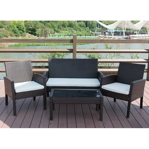 Simoneau 4 Piece Rattan Sofa Seating Group with Cushions by Breakwater Bay