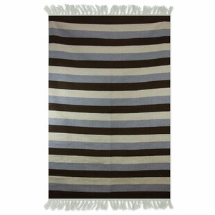 Buy luxury Bridlewood Bold Horizon Dhurrie Hand-Wooven Wool Black/Gray/Beige Area Rug By Bay Isle Home