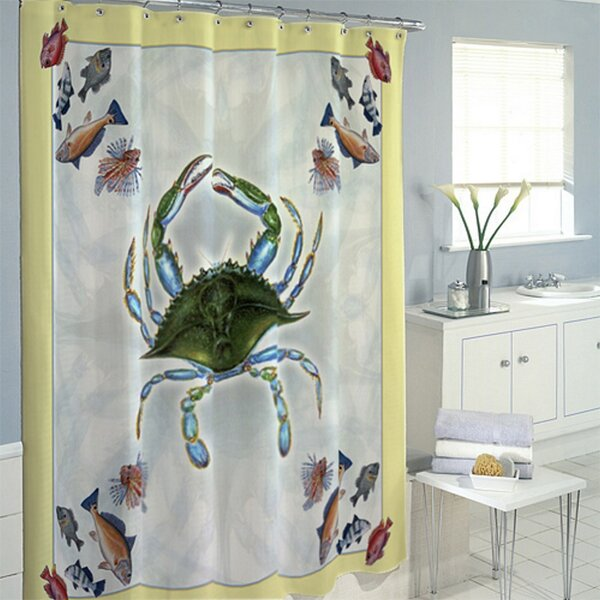 Liesl Crab and Fish Shower Curtain (Set of 4) by Highland Dunes