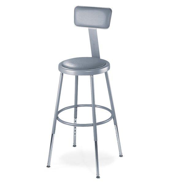 Height Adjustable Stool with Adjustable Backrest b