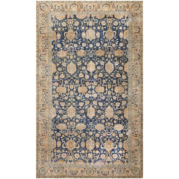 One-of-a-Kind Indian Hand-Knotted Blue 13' x 22'5 Wool Area Rug