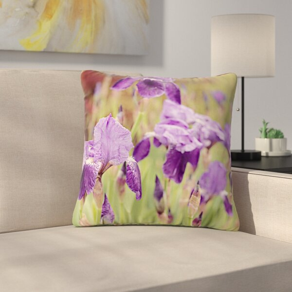Angie Turner Irises Floral Outdoor Throw Pillow by East Urban Home