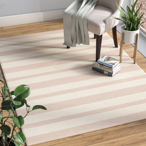 Claro Stripe Hand-Tufted Pink/Ivory Area Rug by Harriet Bee