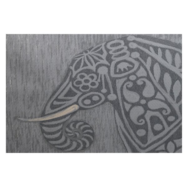 Essehoul Print Gray Indoor/Outdoor Area Rug by Bungalow Rose