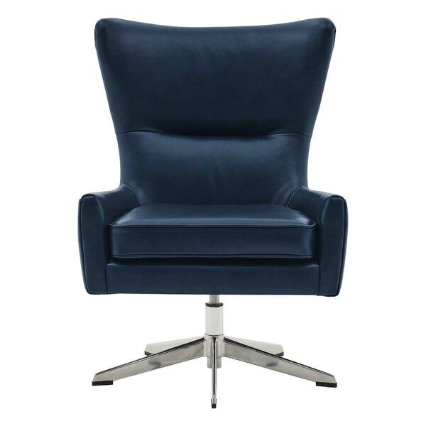 Guinevere Top Grain Leather Swivel Wingback Chair by Orren Ellis Orren Ellis