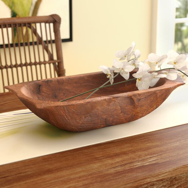 Glenfield Deep Wooden Dough Bowl with Handles by Bay Isle Home