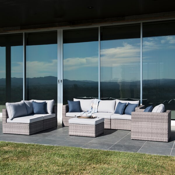 Joshua 7 Piece Rattan Sectional Seating Group with Cushions Brayden Studio SNAI1155