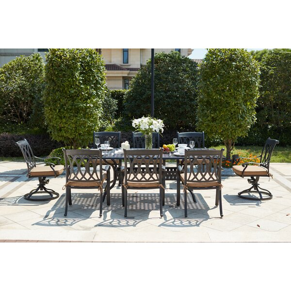 Melchior 9 Piece Metal Frame Dining Set with Cushions by Astoria Grand
