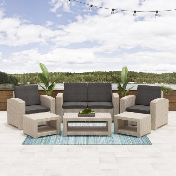 Guimond Patio 6 Piece Rattan Sofa Set with Cushions by Wrought Studio