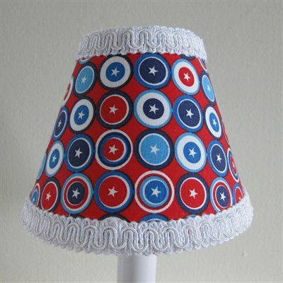 Captain America 4 H Fabric Empire Candelabra Shade ( Clip On ) in Red/Blue