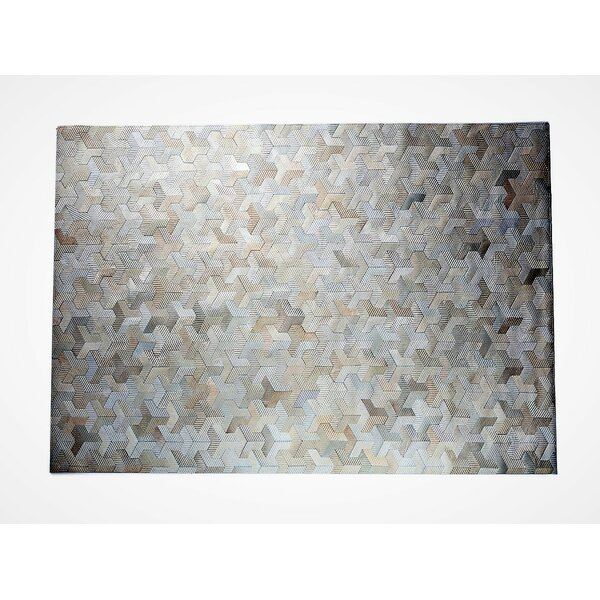 One-of-a-Kind Krogman Natural Patchwork Champagne/Ivory Cowhide Area Rug by Latitude Run