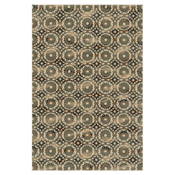 Trentelman Ivory/Blue Area Rug by Ebern Designs