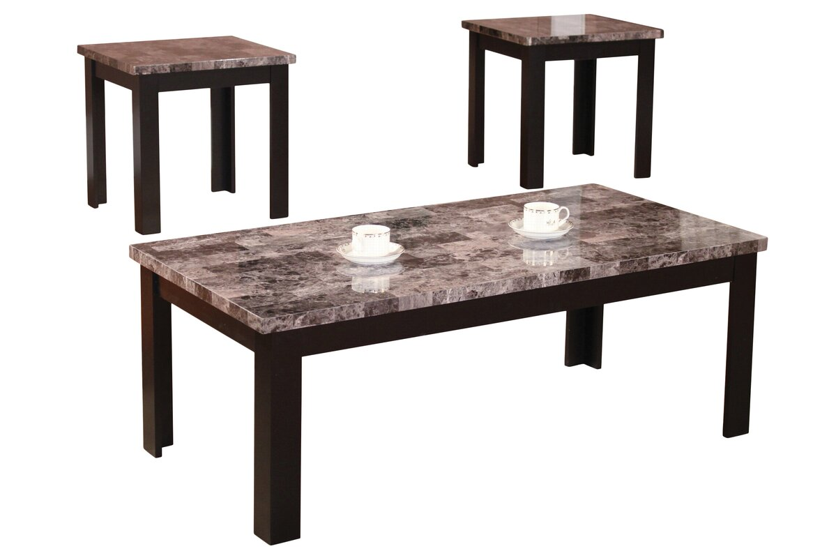 Marble top coffee table sets best home design 2018 for Coffee tables 3 piece