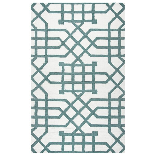 Angela Hand-Tufted Off White/Teal Indoor/Outdoor Area Rug by Mercer41