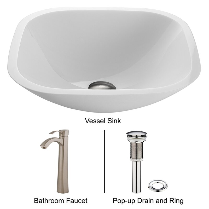 Bathroom Faucets Phoenix vigo white phoenix stone square vessel bathroom sink & reviews