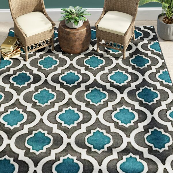 Serita Trellis Blue/Cream Area Rug by Bloomsbury Market
