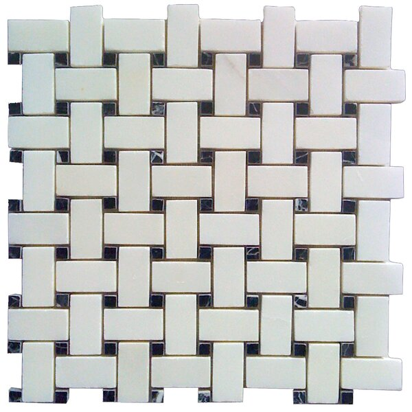 Basketweave 1 x 2 Marble Mosaic Tile in Black/White by Luxsurface