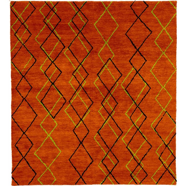 One-of-a-Kind Gisela Hand-Knotted Traditional Style Orange 12' x 18' Wool Area Rug