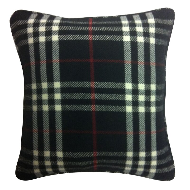 Black Plaid Throw Pillow