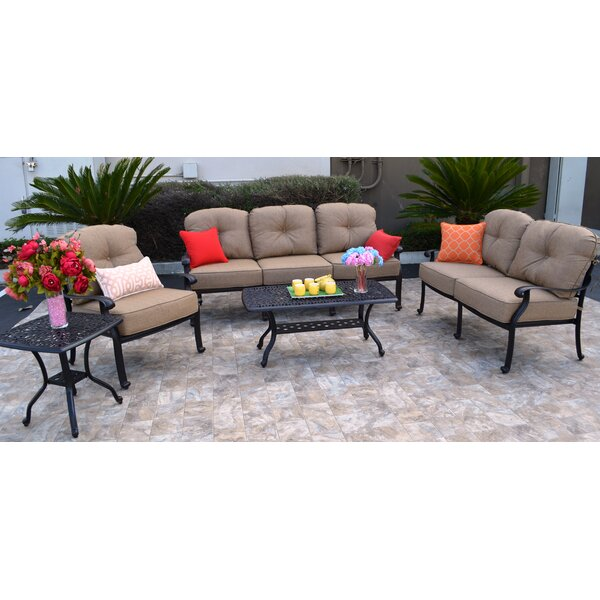 Sidney 5 Piece Sunbrella Sofa Set with Cushions by Three Posts
