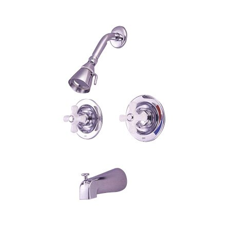 Heritage Pressure Balanced Volume Control Tub and Shower Faucet with Twin Porcelain Cross Handles by Elements of Design