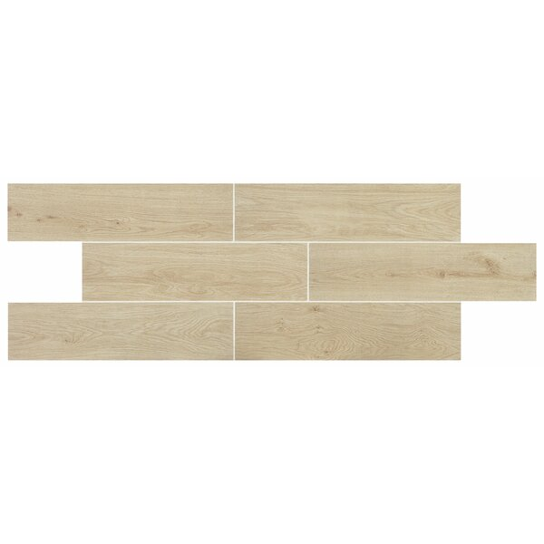 Modern Visual 6 x 24 Porcelain Wood Look Tile in White by Itona Tile