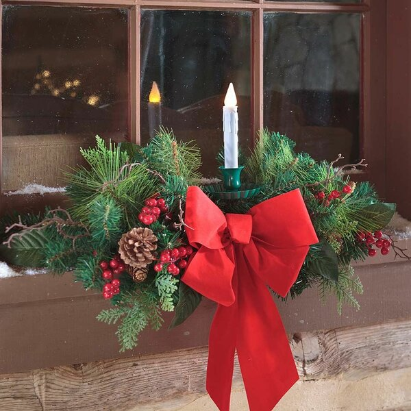 Holiday Window Swag with Candle by Plow & Hearth