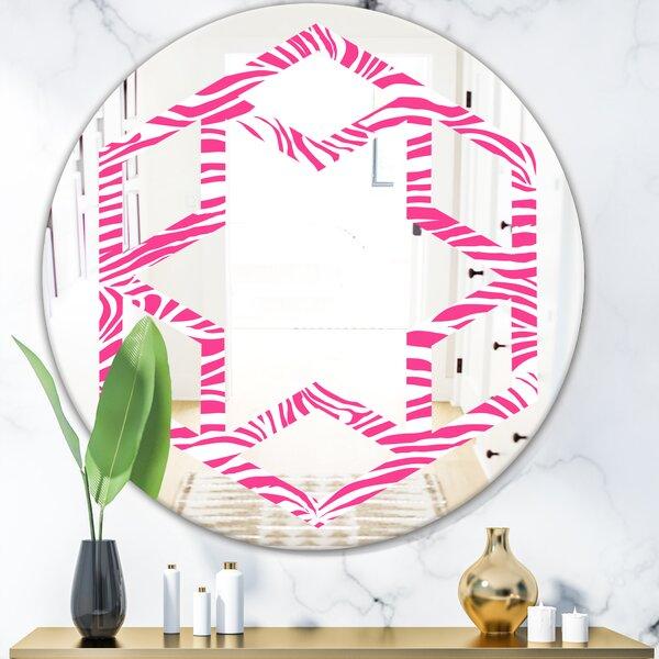 Hexagon Star Glamour Zebra Animal Pattern Modern Frameless Wall Mirror