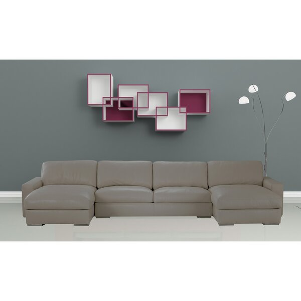 Venice Leather Sectional by Orren Ellis