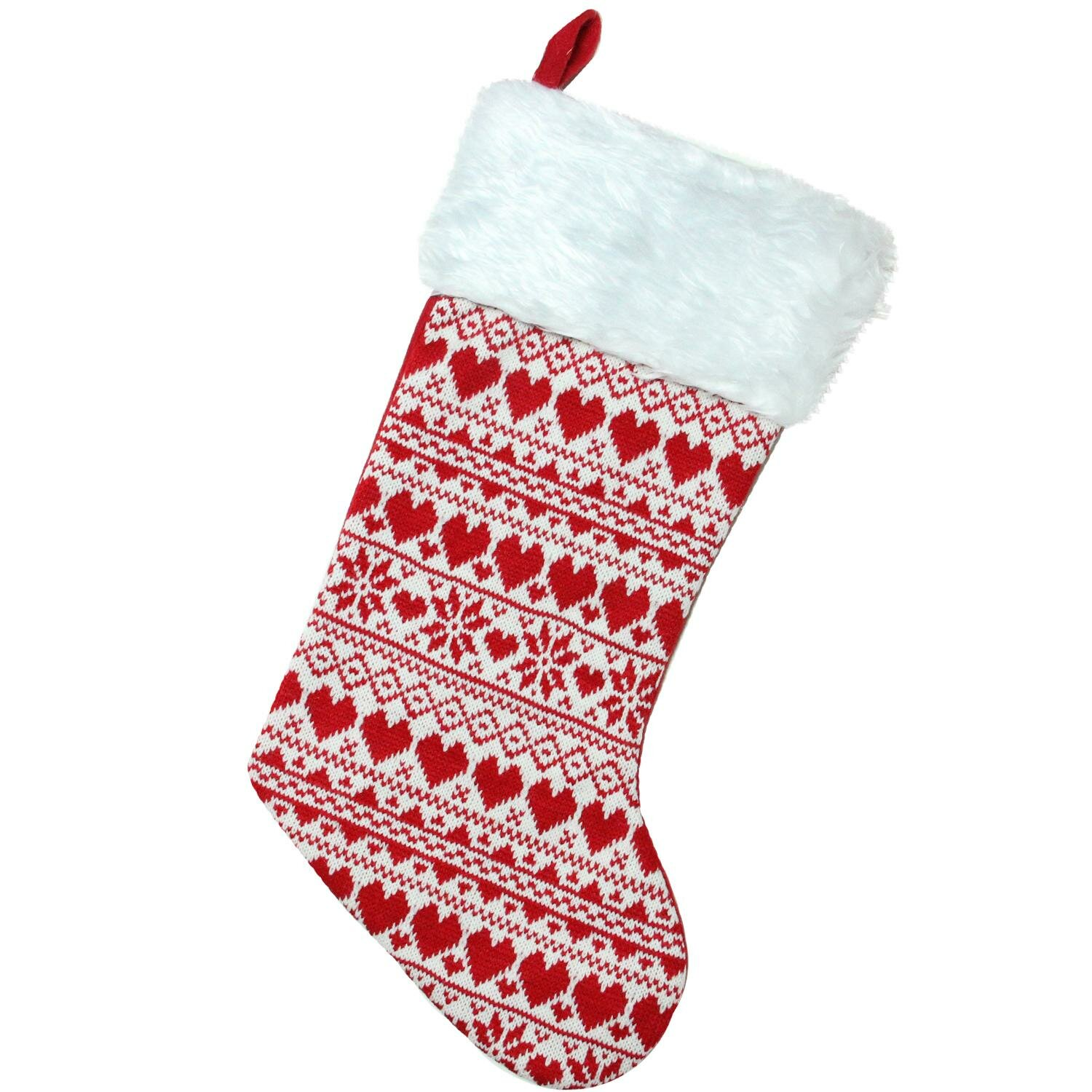 The Holiday Aisle Heart and Snowflake Knit Christmas Stocking with ...