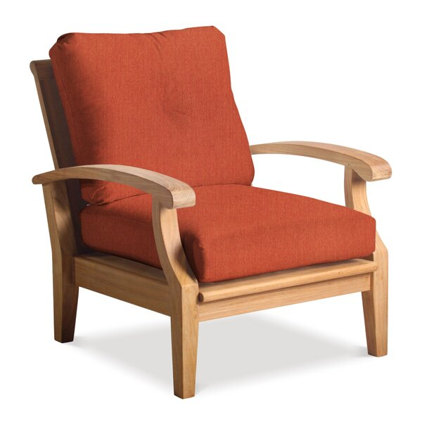 Lowery Deep Seating Teak Patio Chair with Sunbrella Cushions by Rosecliff Heights