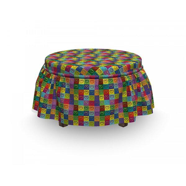 Art Vivid Heart Square 2 Piece Box Cushion Ottoman Slipcover Set By East Urban Home