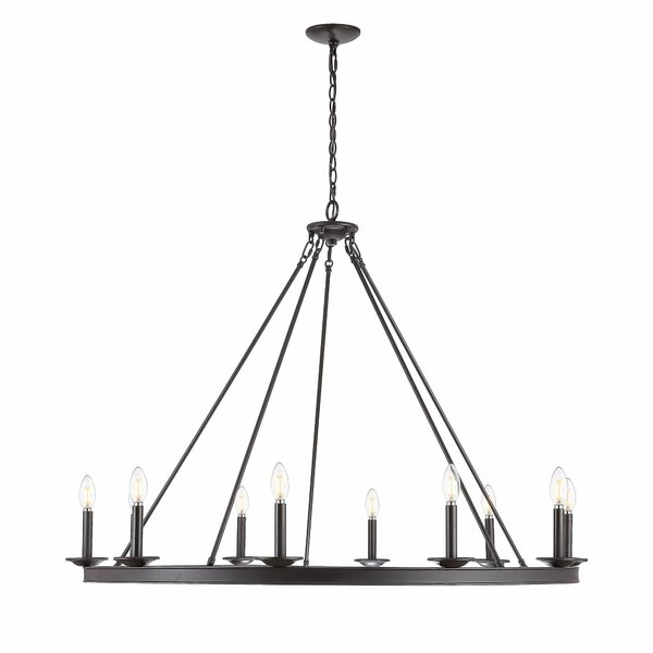 Natividad 10 - Light Candle Style Wagon Wheel Chandelier By Ivy Bronx