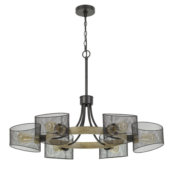 Manny 6 - Light Unique / Statement Wagon Wheel Chandelier With Wood Accents By Gracie Oaks