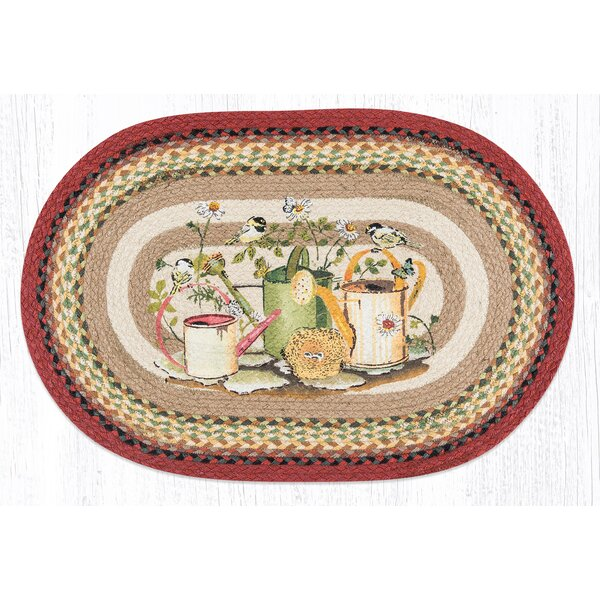 Chickadee Butterfly Oval Multi Patch Area Rug by Earth Rugs